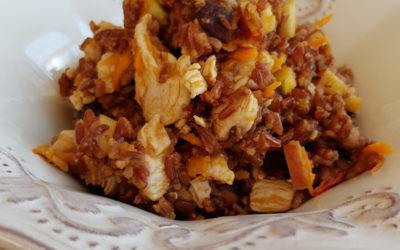 Jedzenie dla psa z brązowym ryżem i fasolą