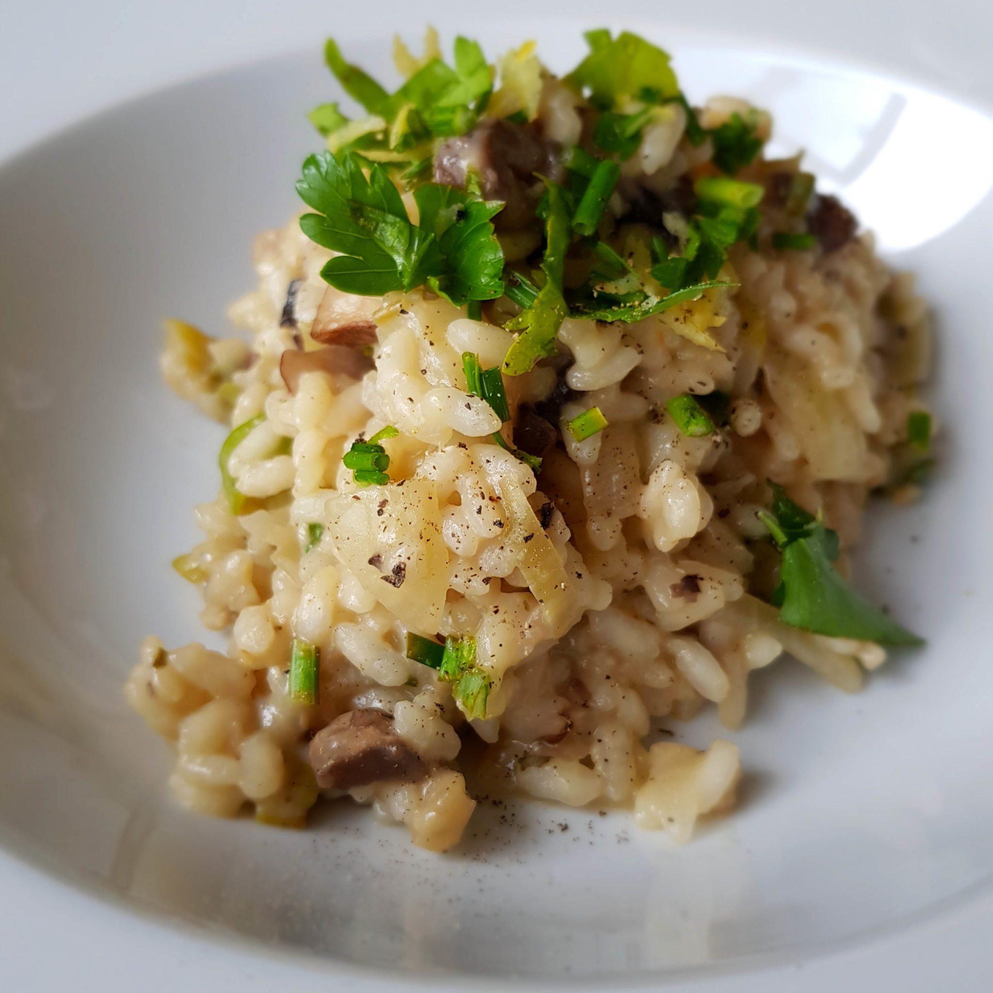 wegańskie risotto z pieczarkami